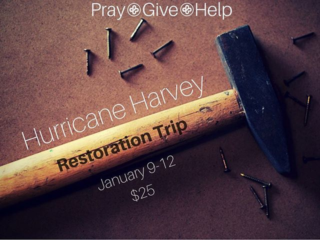 Join us on our trip to Port Aransas this January! Come help FBC Port A recover from Harvey.  Cost of trip is $25 + dinner for 2-3 nights.  Sign up on our First College website!