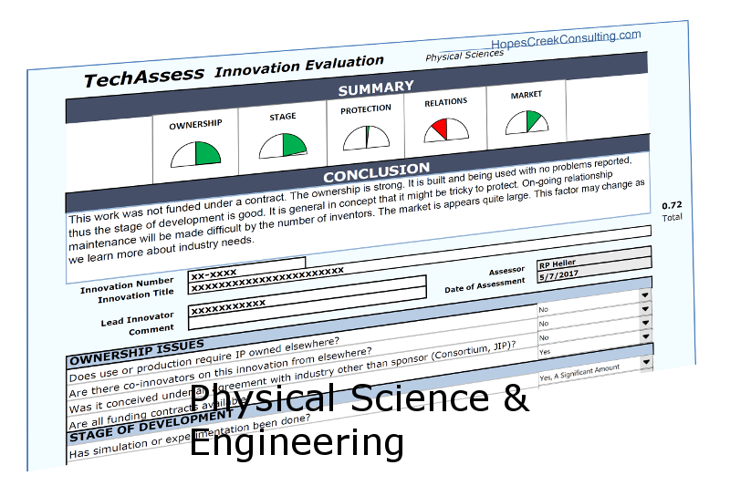 TechAssess for the Physical Sciences - TechAssess is a technology assessment tool for use in evaluating an invention for its potential for licensing. This version is for use with Physical Sciences like chemistry and physics, as well as for engineering and medical devices. If you agree with the license, it is a gift for you at no cost.