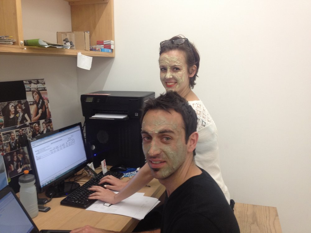 "First ""office"". Face masks as we were ageing by the minute. Opening new stores are stressful:)"