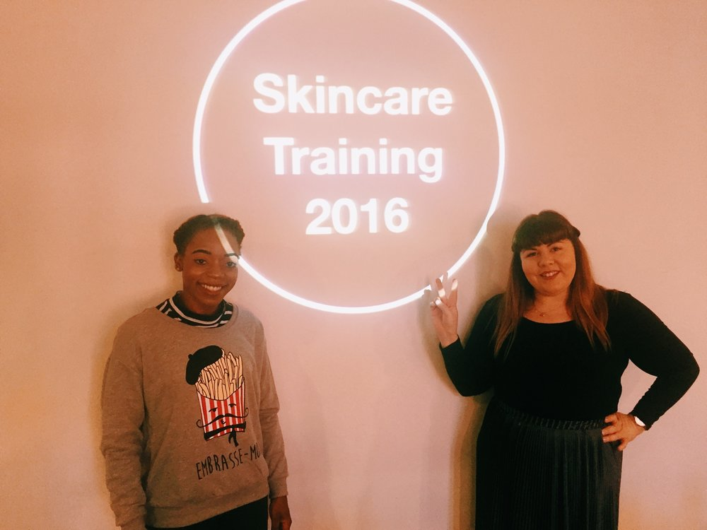 Aura and Georgie (another AMAZING Lush friend) getting ready for skincare training.