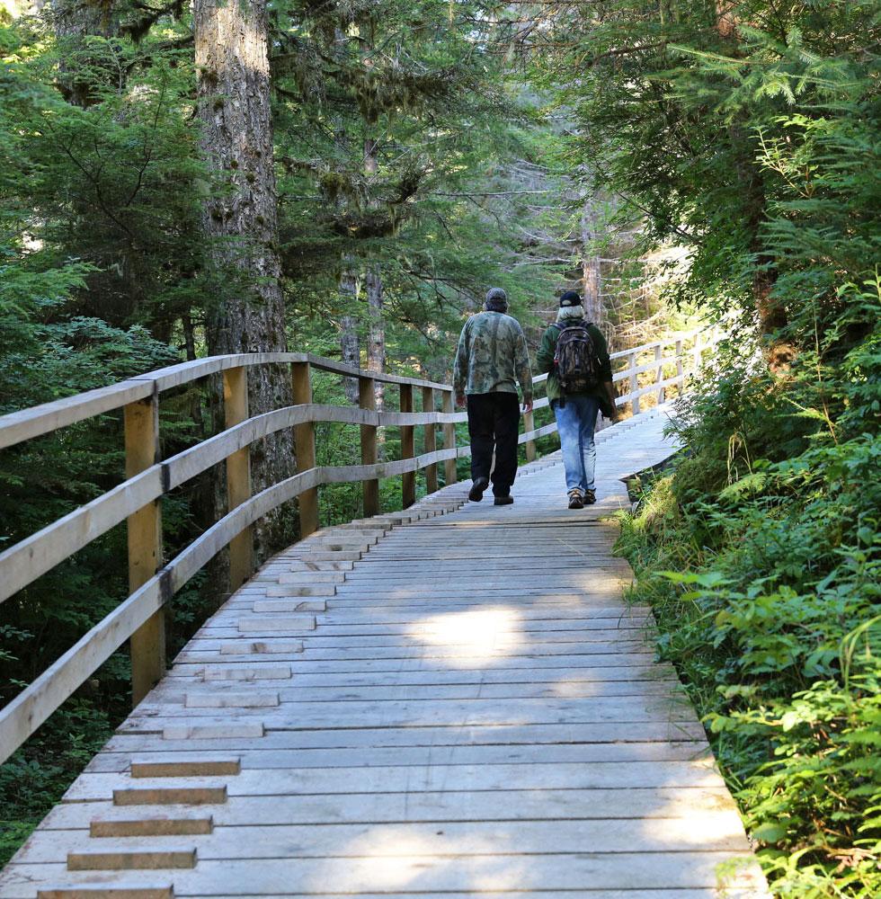 The boardwalk in Port Protection Alaska