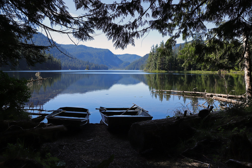 Red Bay Lake with skiffs on Prince of Wales Island in Southeast Alaska