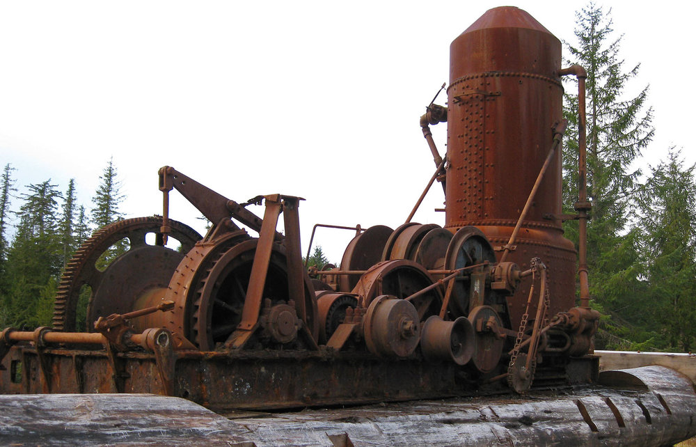 The steam donkey in Naukati Bay is from the early logging era.