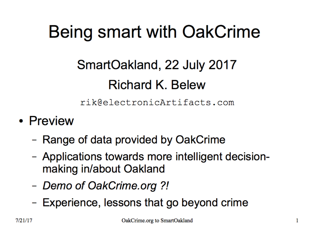 Rik Belew, Oakland Resident - Jul. 22: Civic Hacking, Data for Community Engagement, Data for Advocacy &Change
