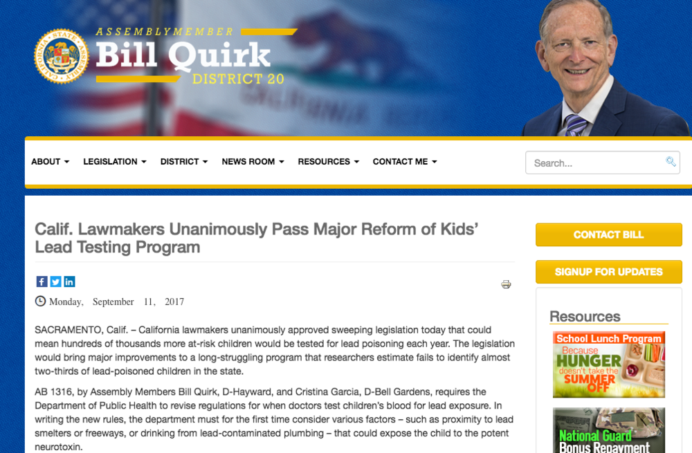 Assembly member Bill Quirk - pass lead testing.png