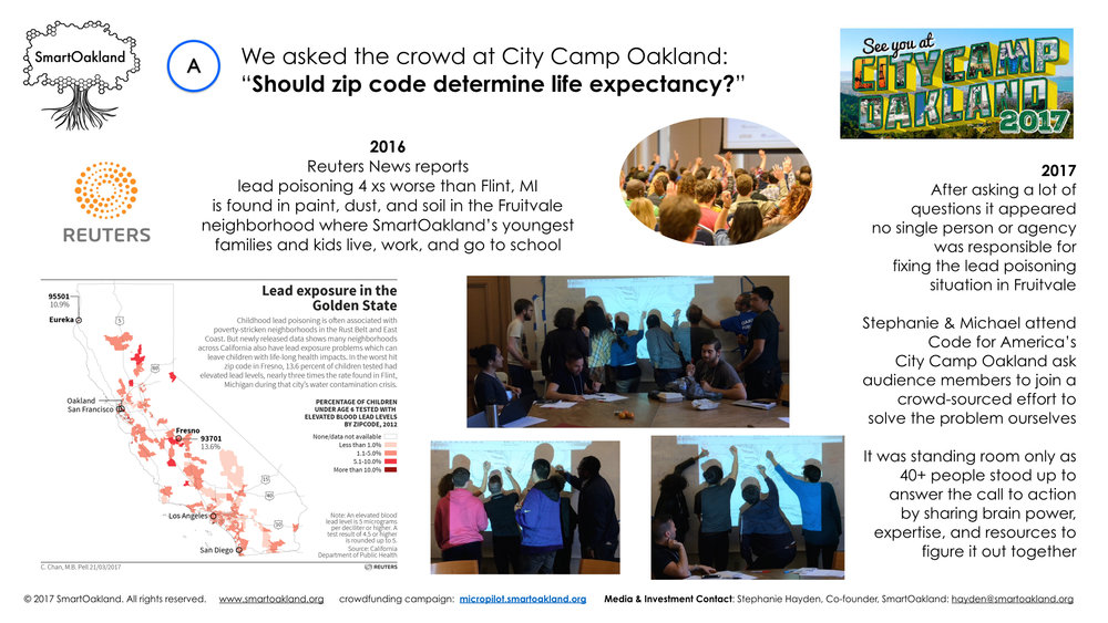 Oaklanders Join Vision Architecture's Stephanie Hayden at Oakland City Camp 2017 to Co-create Answers for Oakland Lead Poisoning Situation & Seed SmartOakland Programming - March 25, 2017: OpenOakland's City Camp 2017