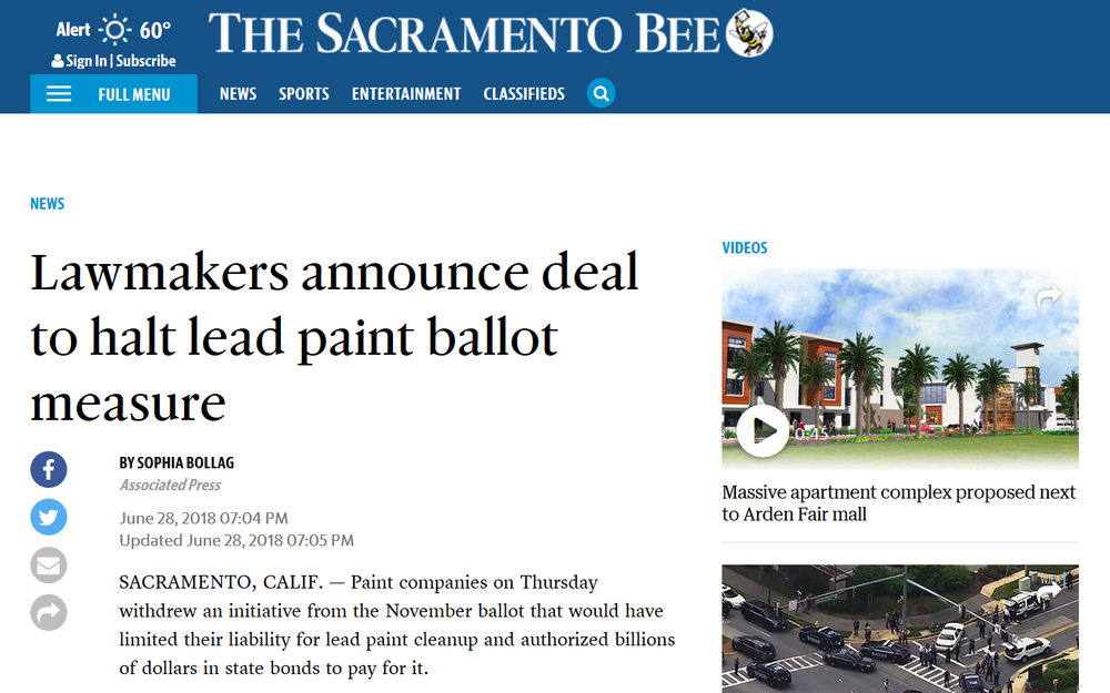 SacramentoBee_Lawmakers Halt Lead Paint Company 2B ballot CA.png