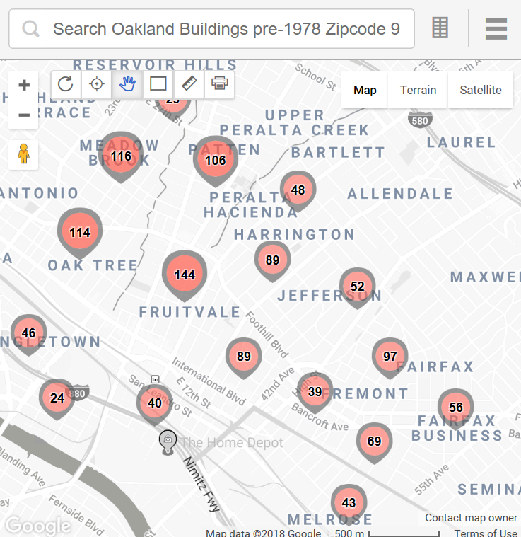 Many Oakland communities and Zip Codes with pre1978 housing that need to be checked for lead paint