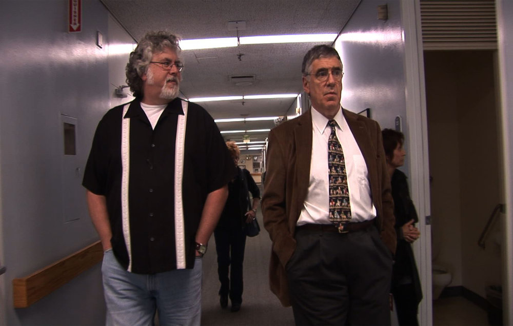 "Man/Kind founder Richard Stellar (left) walking the halls of the then beleaguered Motion Picture Home with actor Elliot Gould.  ""When he came on board, it was like game over.  There was no way we could have lost our fight to keep the elderly residents of the long term care center in place."""