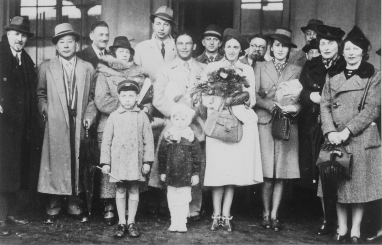 Chiune Sugihara poses with a group of people at the railroad station in Kaunas, Lithuania.  The same station that would be the point of embarkation for hundreds of targeted Jews who were off to a new life in Japan.