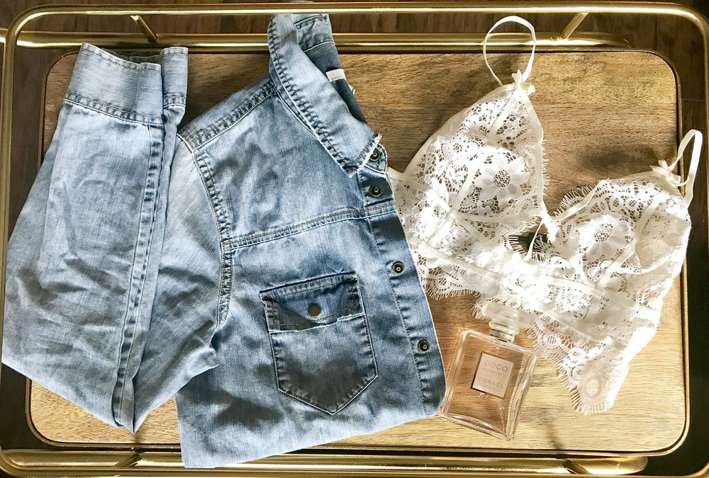 Denim Shirt -  Bar III  Perfume -  Chanel  Bralette -  For Love & Lemons