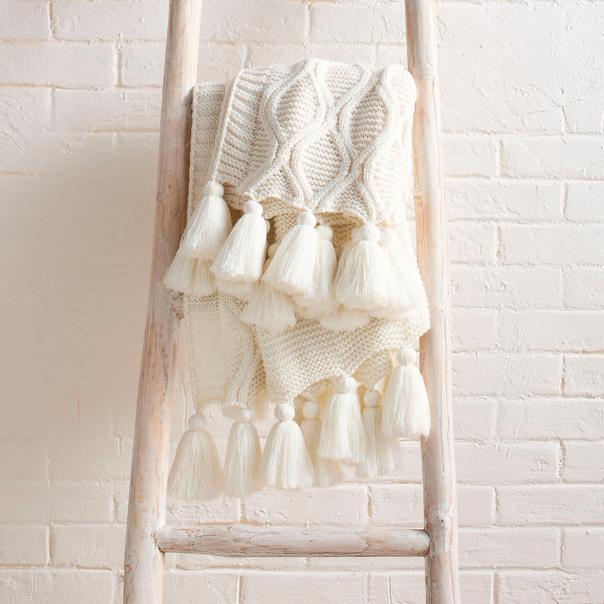 GRANDINROAD |  Diamond Knit Tassel Throw $59