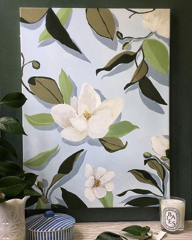 Magnolias on repeat 🌿 . . . #stilltweakingit #needsaframe #studiomaggie #magnolia #magnoliapainting #raleighartist #raleigh #acrylicpainting #magnoliamarket #magnoliaart #websitecomingsoon #toomanyhastags