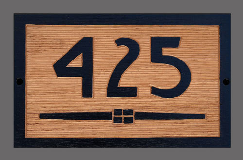 Board with graphic line and house number