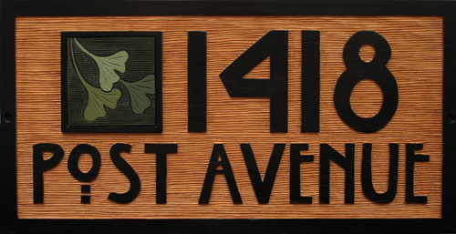 Spanish Cedar board with house number, image, and street name