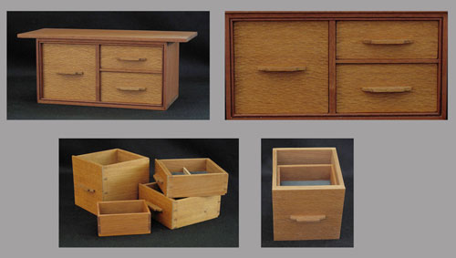 Mahogany Box with 3 drawers and a tray