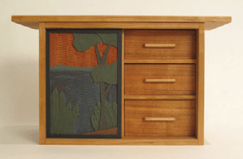 Cherry Collector's Box with sliding door, 4 drawers, and low-relief carving