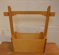 Pine tote with sloped ends
