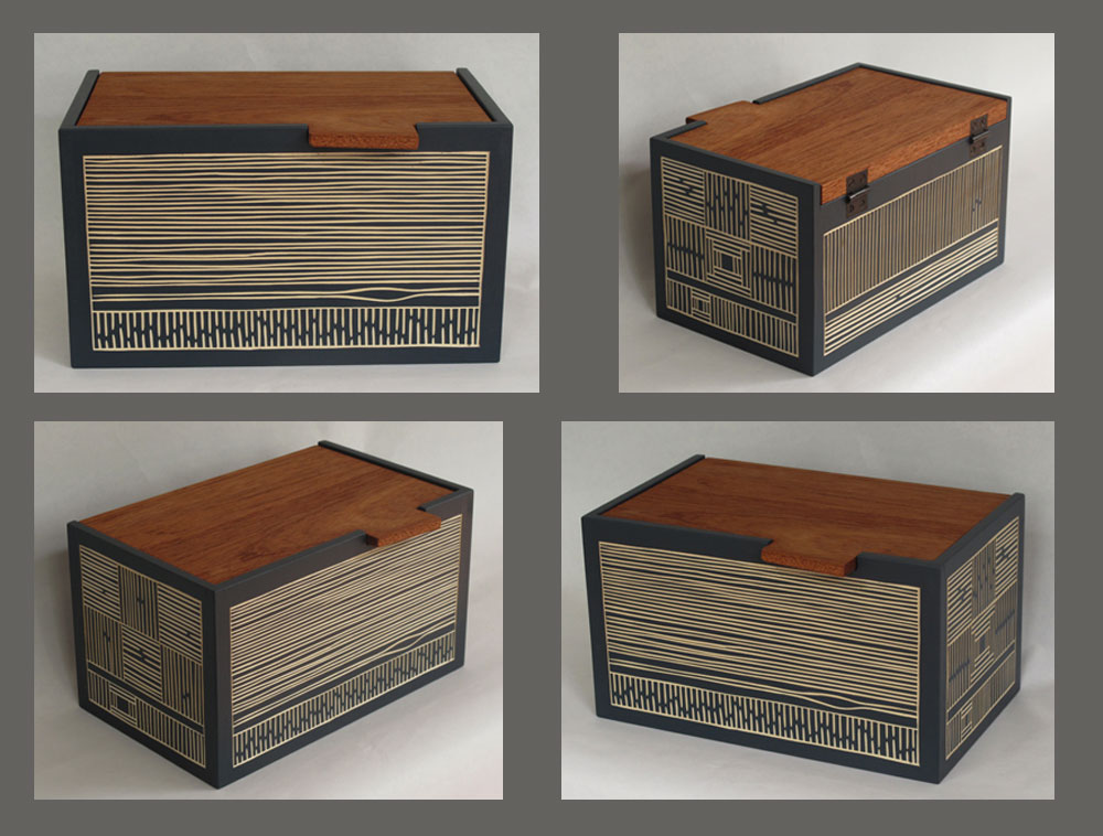 Painted basswood box with hinged Spanish cedar lid and gouge-drawn texture carving