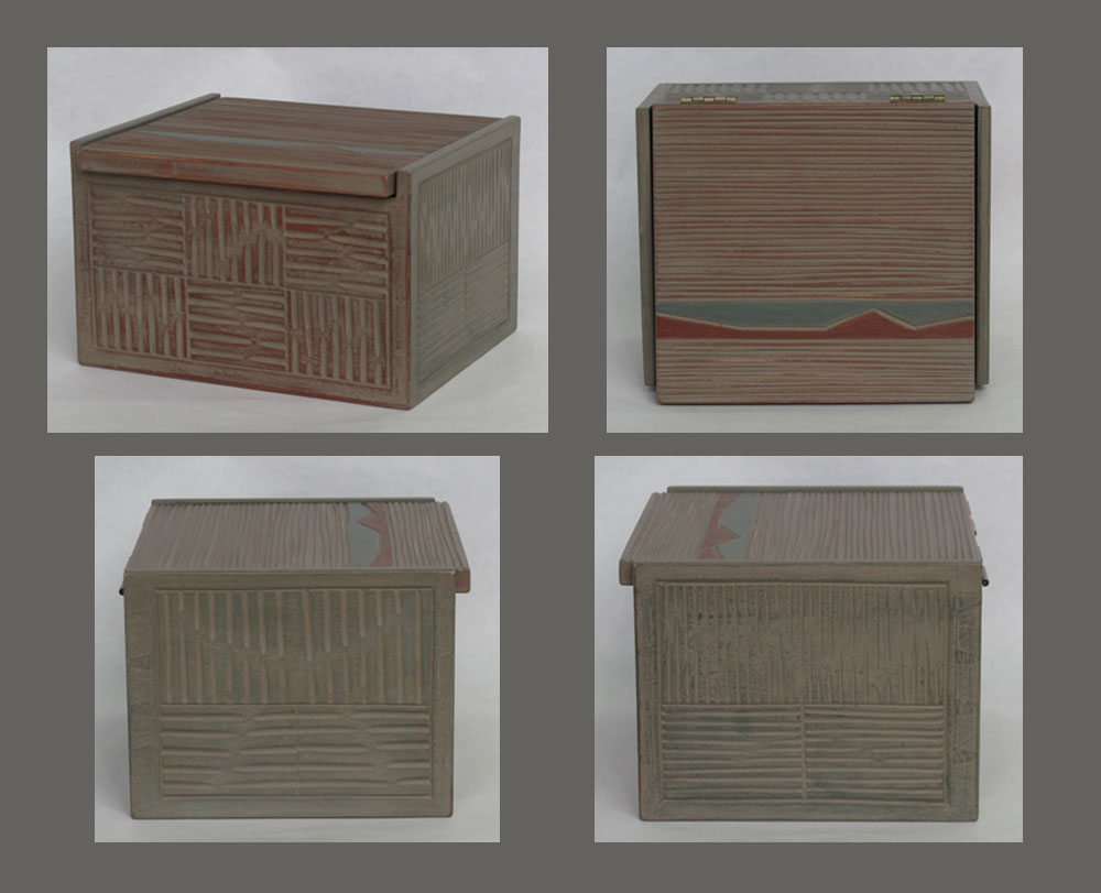 Hinged basswood box with carved texture, painted with milk paint