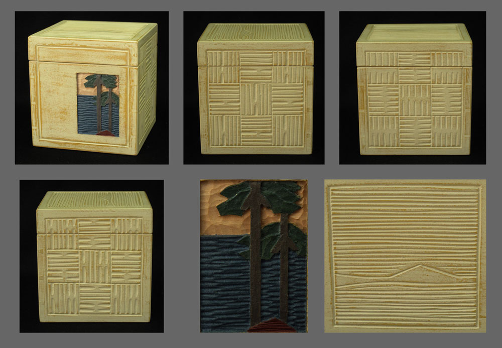Basswood sawn-lid cube with texture and low-relief carving, painted with milk paint