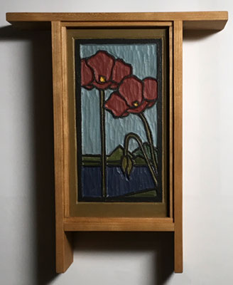 Poppies: Painted carving in an Arts and Crafts Style cherry frame
