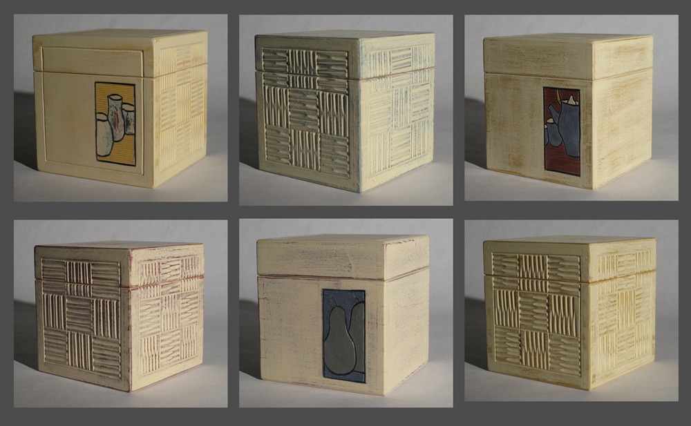 Six basswood carved sawn-lid cubes, painted with milk paint