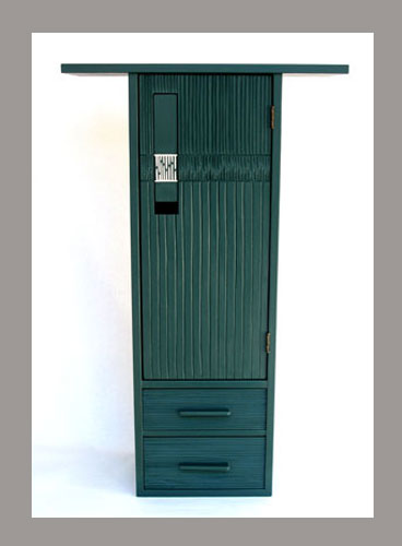 Poplar and basswood painted cabinet with carved texture