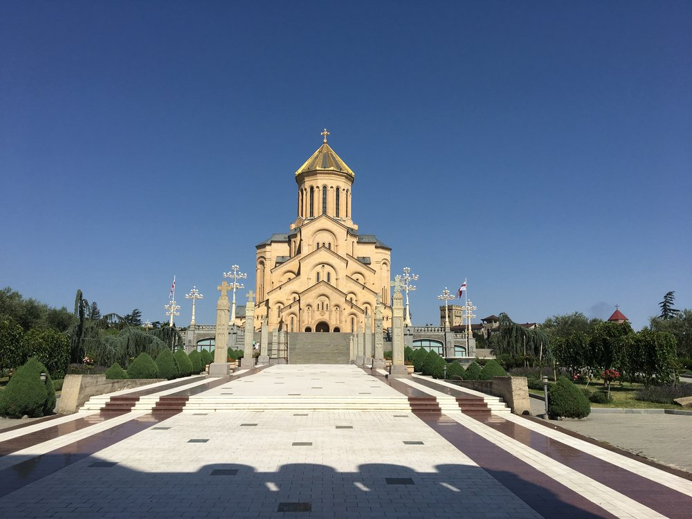 Sameba, or Holy Trinity Cathedral of Tbililsi.  It's immensity is hard to guage in the shot, but this Georgan Orthadox Church is visible from everywhere in the city.  Also, in case it's confusing, it is NOT where my friends were married.