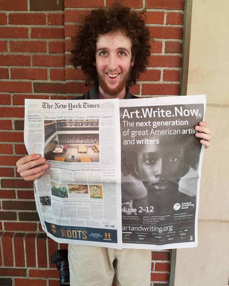 My photo on a full page advertisement in the New York Times representing National Scholastic Art and Writing Awards, New York City- May 29th, 2016