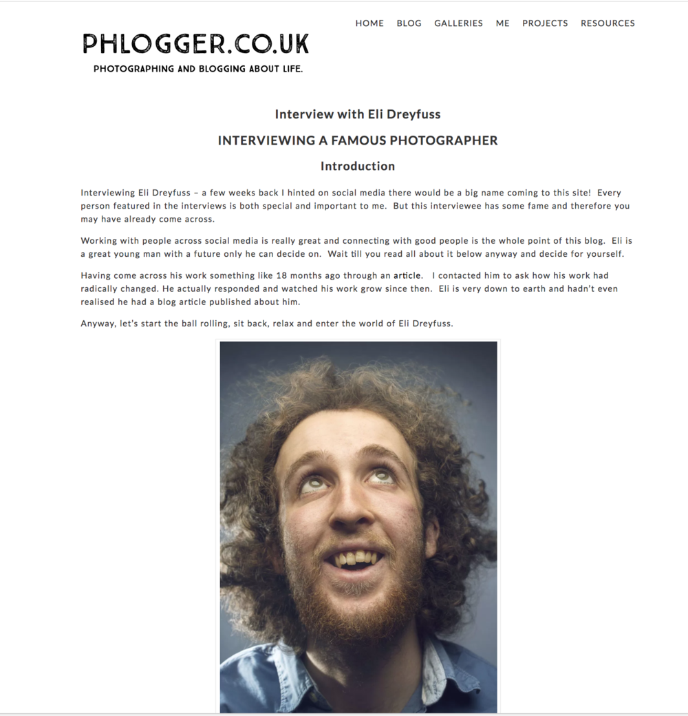 Interview with blogger Andrew Walmsey from the UK about my journey as a photographer.