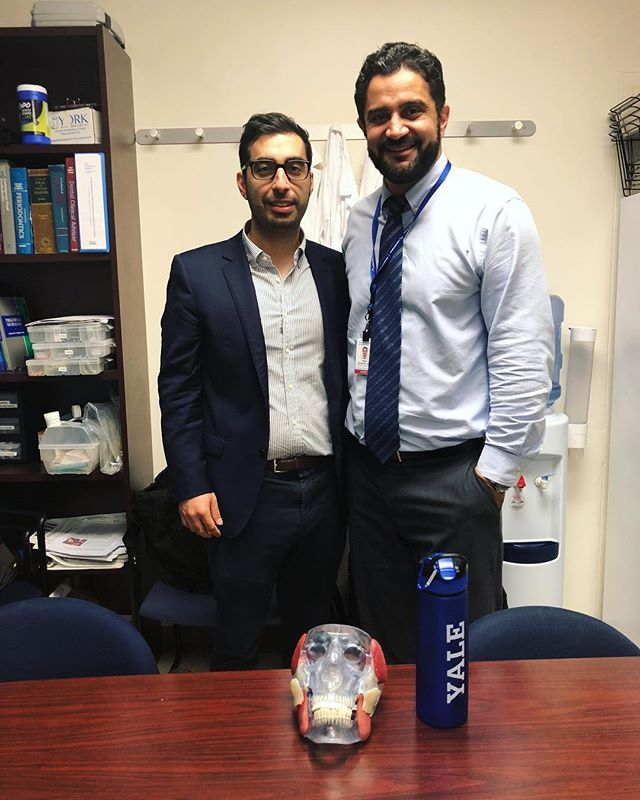 My former student from UConn became my resident at Yale, and now we teach together as colleagues at Yale! Great to have Nima as a colleague, but why do I feel he's getting taller? 🙈👨🏻‍🏫✨ #uconn #yalenewhavenhospital #DoctorTMJ #TMJ #jawpain