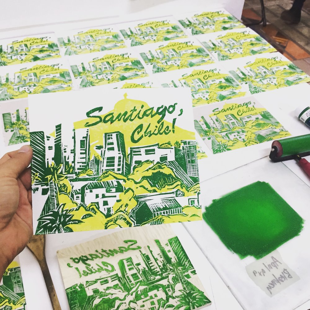 'Santiago, Chile' Postcard, Linocut, 6.25''x5.5'', 2018.JPG