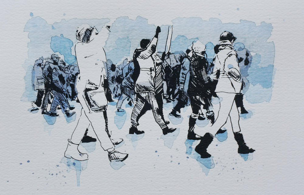 Ape_Bleakney_March Mixed Media - 'Marchers (2)', 6.5''x9.5'', Screen Print + Watercolor, 2018 copy.jpg