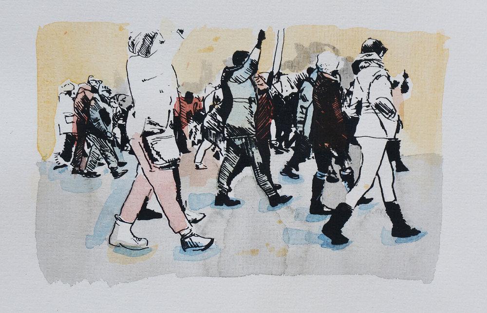 Ape_Bleakney_March Mixed Media - 'Marchers (3)', 6.5''x9.5'', Screen Print + Watercolor, 2018 copy.jpg