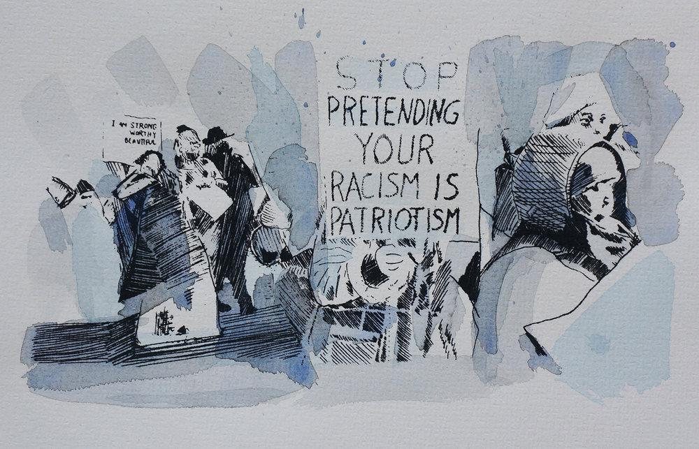 Ape_Bleakney_March Mixed Media - 'Stop Pretending (1)', 6.5''x9.5'', Screen Print + Watercolor, 2018 copy.jpg