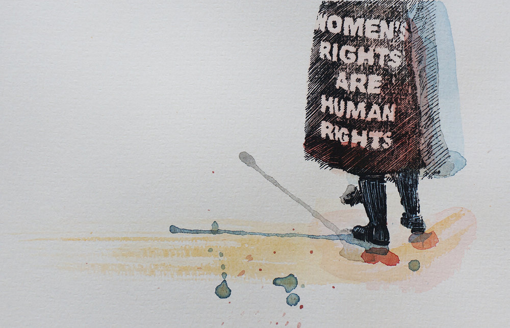 Ape_Bleakney_March Mixed Media - 'Women's Rights (4)', 6.5''x9.5'', Screen Print + Watercolor, 2018.jpg
