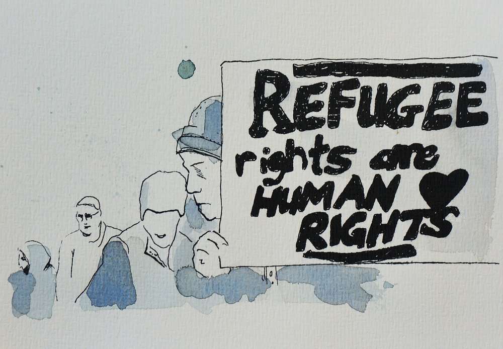 Ape_Bleakney_March Mixed Media - 'Refugee Rights (7)', 6.5''x9.5'', Screen Print + Watercolor, 2018 copy.jpg