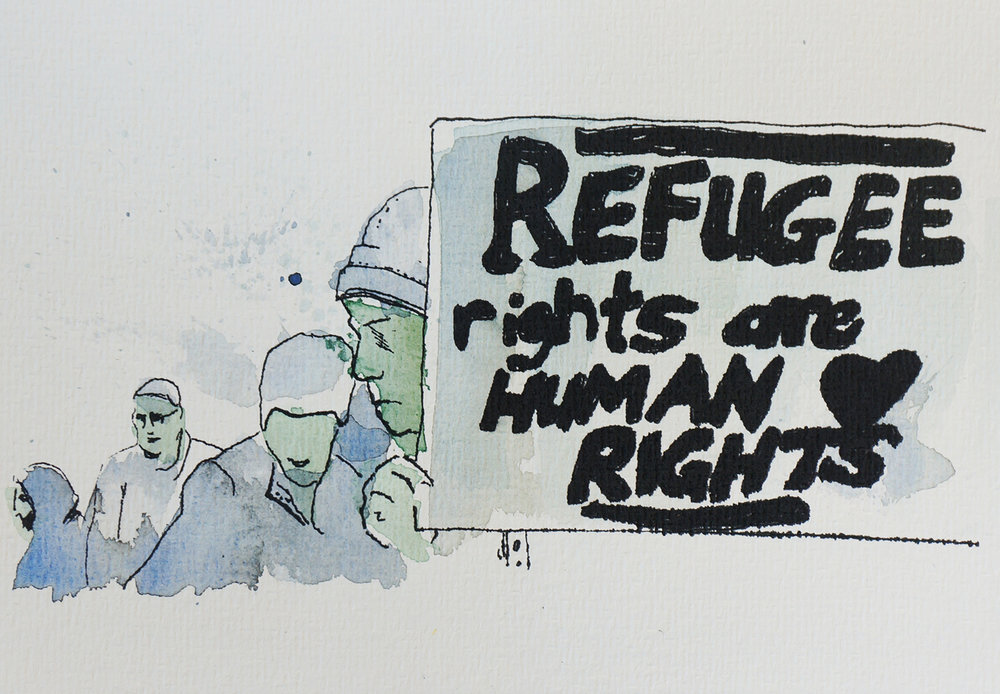 Ape_Bleakney_March Mixed Media - 'Refugee Rights (5)', 6.5''x9.5'', Screen Print + Watercolor, 2018 copy.jpg