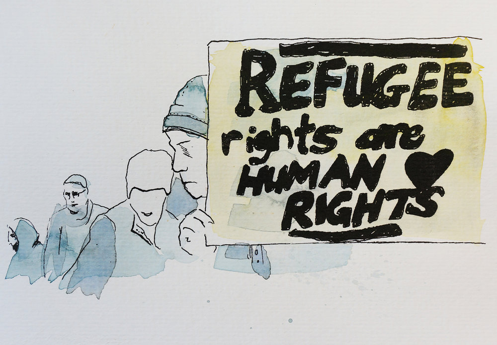 Ape_Bleakney_March Mixed Media - 'Refugee Rights (3)', 6.5''x9.5'', Screen Print + Watercolor, 2018 copy.jpg