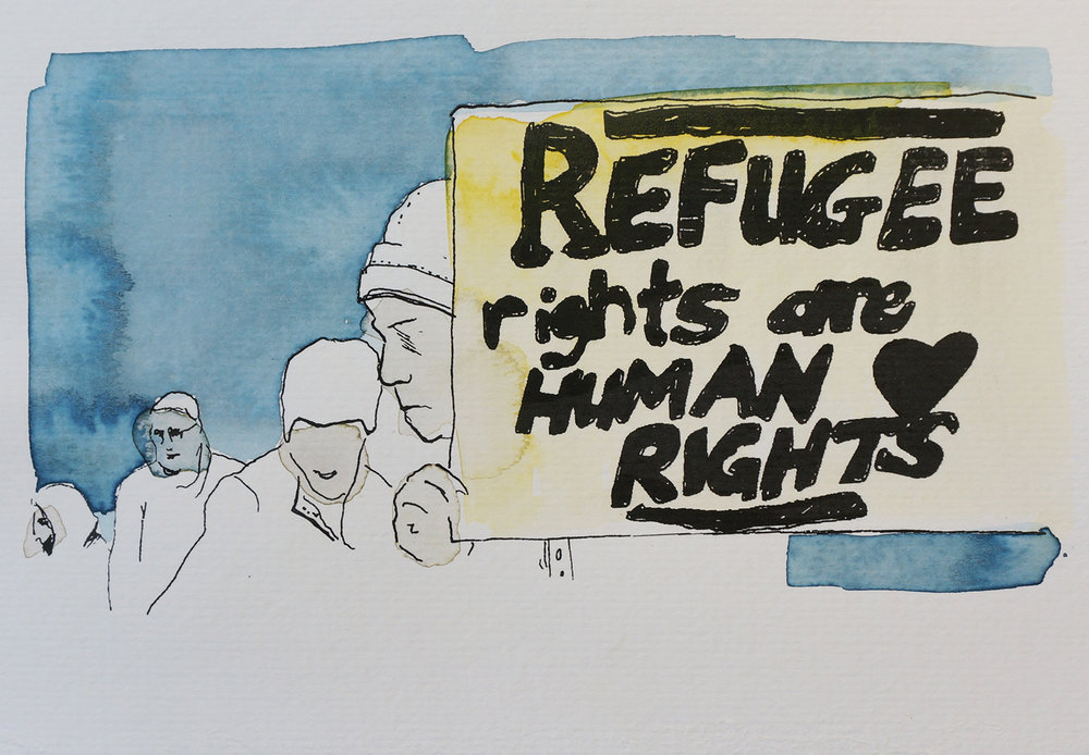 Ape_Bleakney_March Mixed Media - 'Refugee Rights (2)', 6.5''x9.5'', Screen Print + Watercolor, 2018 copy.jpg