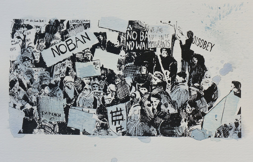 Ape_Bleakney_March Mixed Media - 'No Ban (8)', 6.5''x9.5'', Screen Print + Watercolor, 2018 copy.jpg