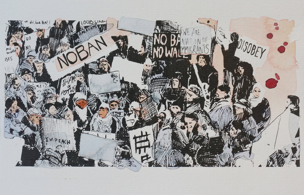 Ape_Bleakney_March Mixed Media - 'No Ban (7)', 6.5''x9.5'', Screen Print + Watercolor, 2018 copy.jpg
