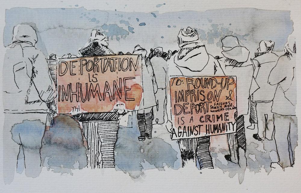 Ape_Bleakney_March Mixed Media - 'Inhumane (7)', 6.5''x9.5'', Screen Print + Watercolor, 2018 copy.jpg