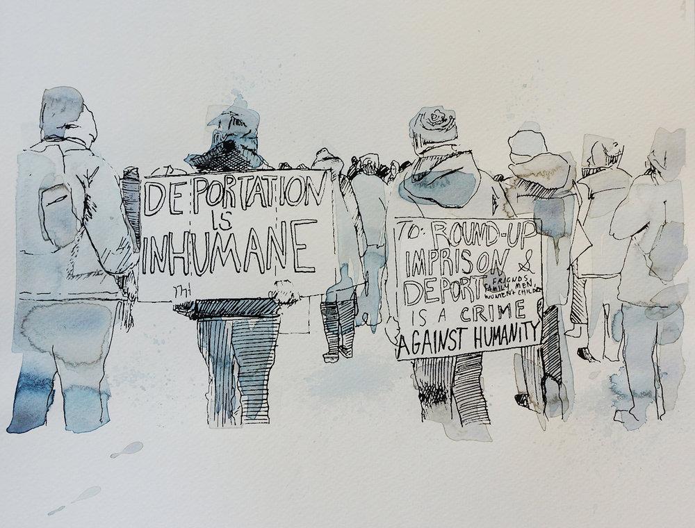Ape_Bleakney_March Mixed Media - 'Inhumane (6)', 9.5''x12.5'', Screen Print + Watercolor, 2018 copy.jpg