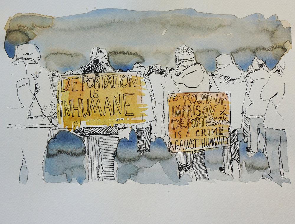 Ape_Bleakney_March Mixed Media - 'Inhumane (4)', 9.5''x12.5'', Screen Print + Watercolor, 2018 copy.jpg