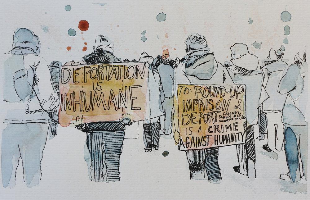 Ape_Bleakney_March Mixed Media - 'Inhumane (3)', 6.5''x9.5'', Screen Print + Watercolor, 2018 copy.jpg