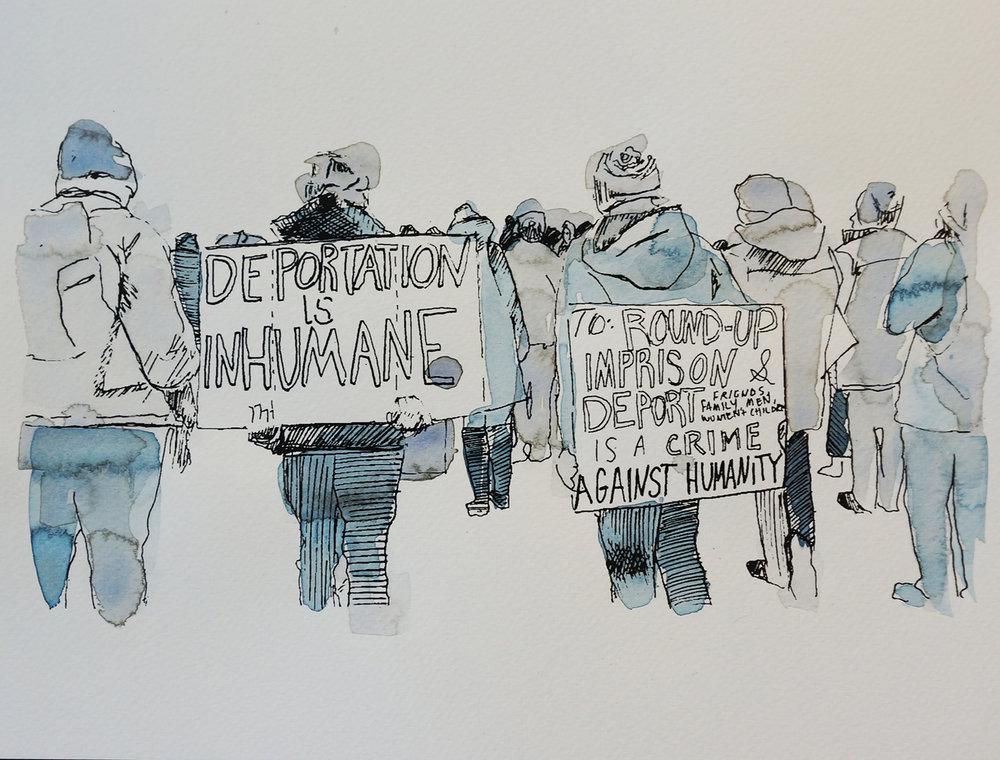 Ape_Bleakney_March Mixed Media - 'Inhumane (2)', 9.5''x12.5'', Screen Print + Watercolor, 2018 copy.jpg