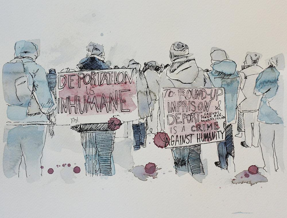 Ape_Bleakney_March Mixed Media - 'Inhumane (1)', 9.5''x12.5'', Screen Print + Watercolor, 2018 copy.jpg
