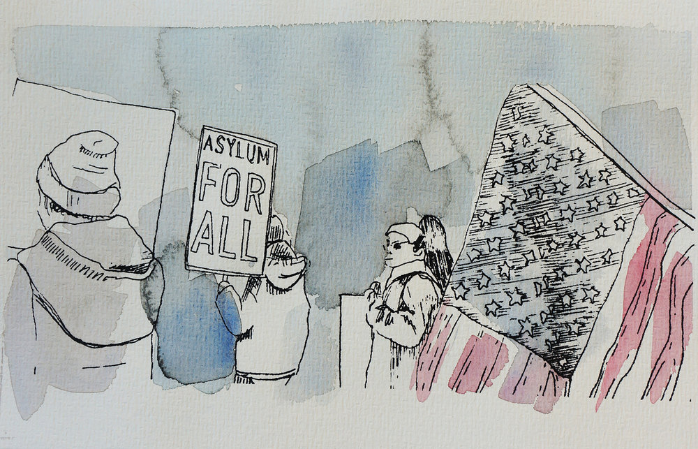 Ape_Bleakney_March Mixed Media - 'Asylum For All (1)', 6.5''x9.5'', Screen Print + Watercolor, 2018 copy.jpg